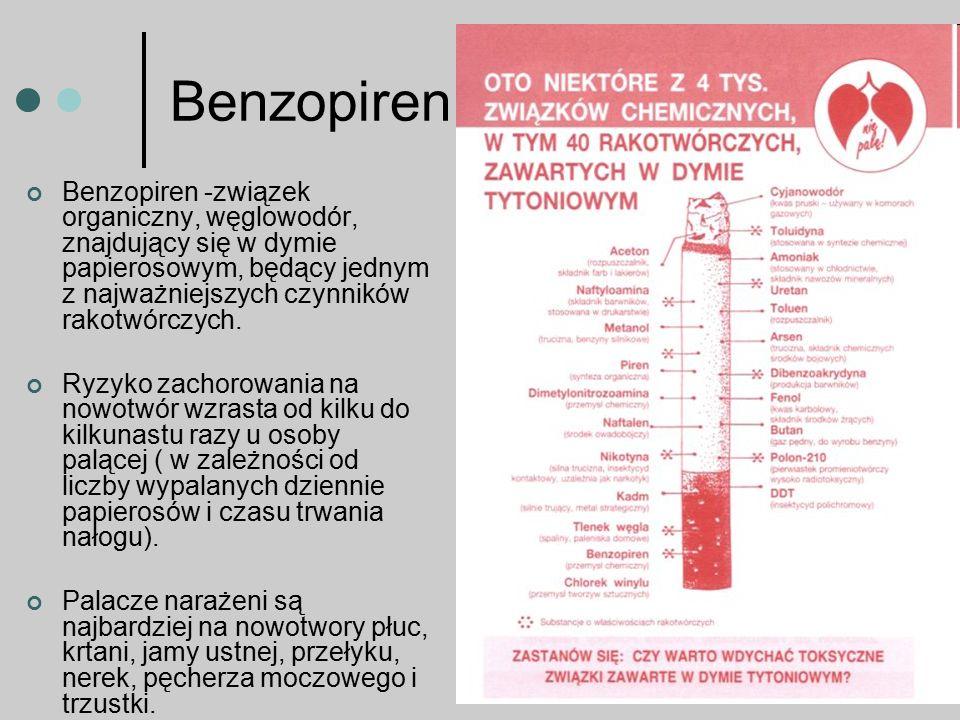 Benzopiren Benzopiren -związek organiczny, węglowodór, znajdujący się w dymie papierosowym, będący jednym z najważniejszych czynników rakotwórczych.