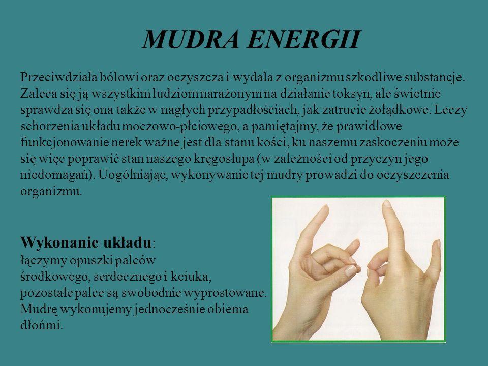MUDRA ENERGII Przeciwdziała bólowi oraz oczyszcza i wydala z organizmu szkodliwe substancje. Zaleca się ją wszystkim ludziom narażonym na działanie to
