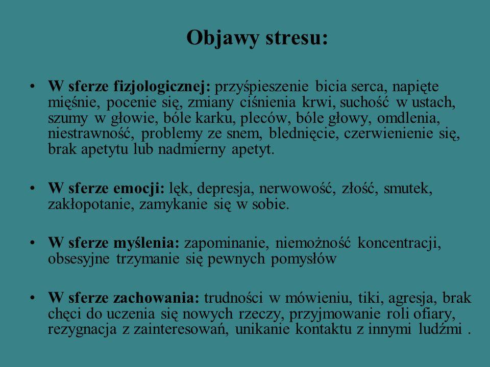 Objawy stresu: W sferze fizjologicznej: przyśpieszenie bicia serca, napięte mięśnie, pocenie się, zmiany ciśnienia krwi, suchość w ustach, szumy w głowie, bóle karku, pleców, bóle głowy, omdlenia, niestrawność, problemy ze snem, blednięcie, czerwienienie się, brak apetytu lub nadmierny apetyt.