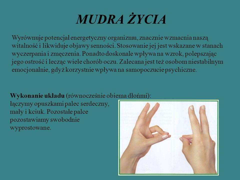 MUDRA ŻYCIA Wykonanie układu (równocześnie obiema dłońmi): łączymy opuszkami palec serdeczny, mały i kciuk. Pozostałe palce pozostawiamy swobodnie wyp