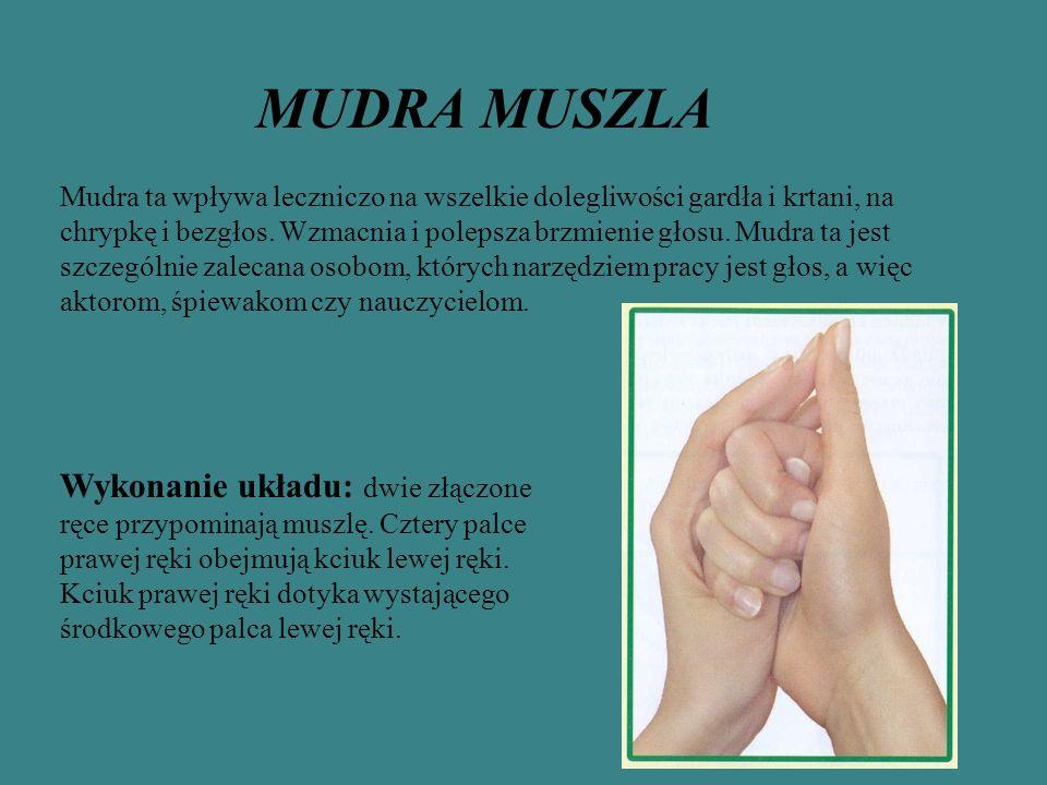 MUDRA MUSZLA Mudra ta wpływa leczniczo na wszelkie dolegliwości gardła i krtani, na chrypkę i bezgłos.