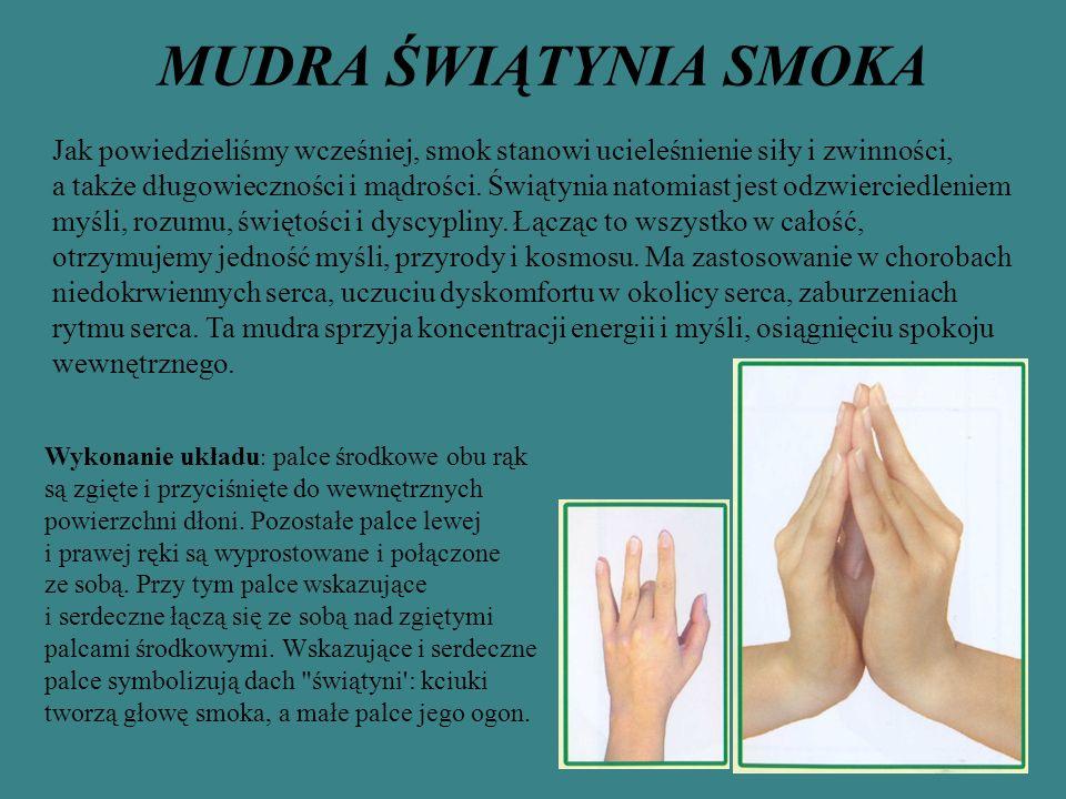 MUDRA ŚWIĄTYNIA SMOKA Jak powiedzieliśmy wcześniej, smok stanowi ucieleśnienie siły i zwinności, a także długowieczności i mądrości.