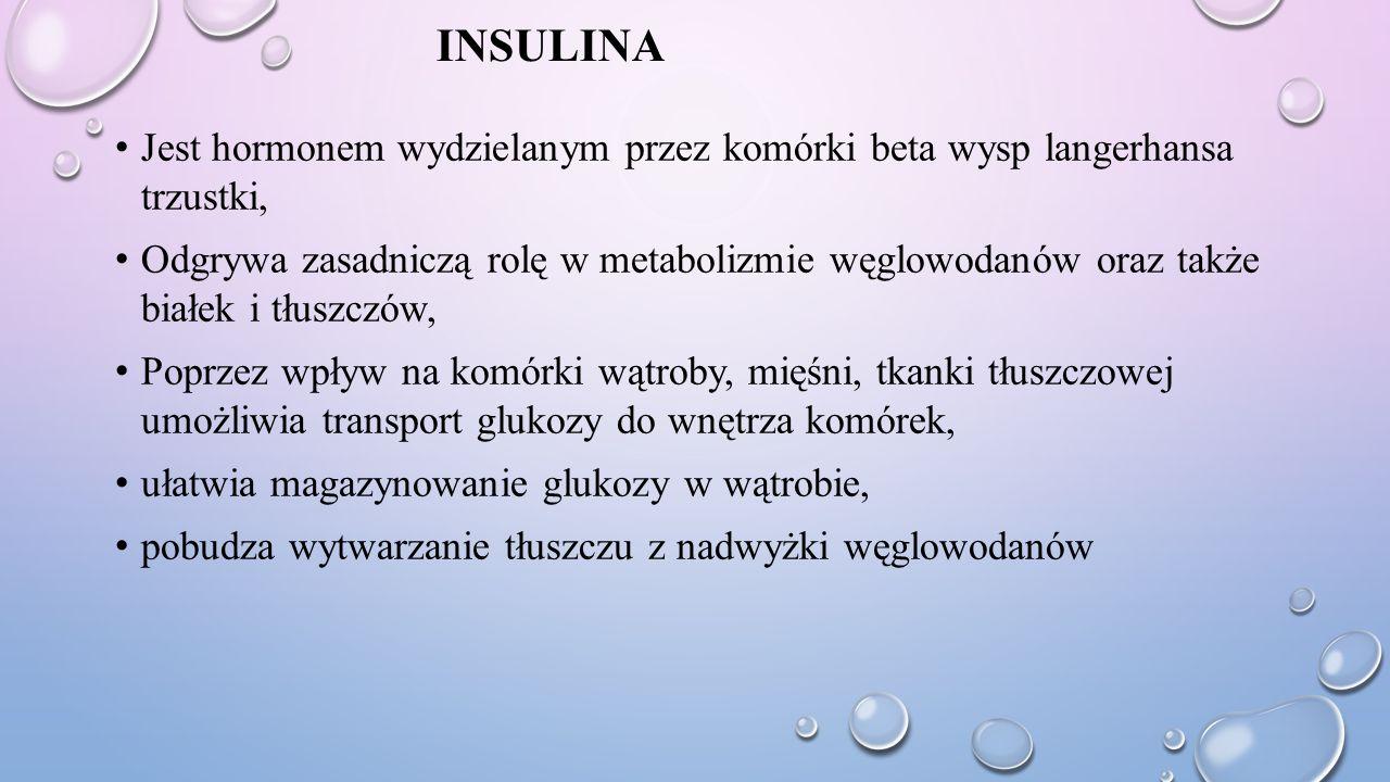 INSULINA Jest hormonem wydzielanym przez komórki beta wysp langerhansa trzustki, Odgrywa zasadniczą rolę w metabolizmie węglowodanów oraz także białek