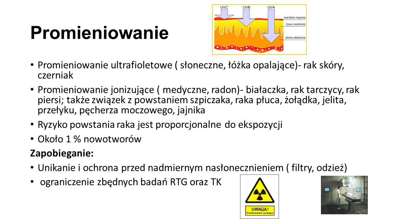 Promieniowanie Promieniowanie ultrafioletowe ( słoneczne, łóżka opalające)- rak skóry, czerniak Promieniowanie jonizujące ( medyczne, radon)- białaczka, rak tarczycy, rak piersi; także związek z powstaniem szpiczaka, raka płuca, żołądka, jelita, przełyku, pęcherza moczowego, jajnika Ryzyko powstania raka jest proporcjonalne do ekspozycji Około 1 % nowotworów Zapobieganie: Unikanie i ochrona przed nadmiernym nasłonecznieniem ( filtry, odzież) ograniczenie zbędnych badań RTG oraz TK