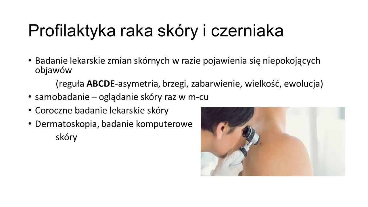 Profilaktyka raka skóry i czerniaka Badanie lekarskie zmian skórnych w razie pojawienia się niepokojących objawów (reguła ABCDE-asymetria, brzegi, zabarwienie, wielkość, ewolucja) samobadanie – oglądanie skóry raz w m-cu Coroczne badanie lekarskie skóry Dermatoskopia, badanie komputerowe skóry