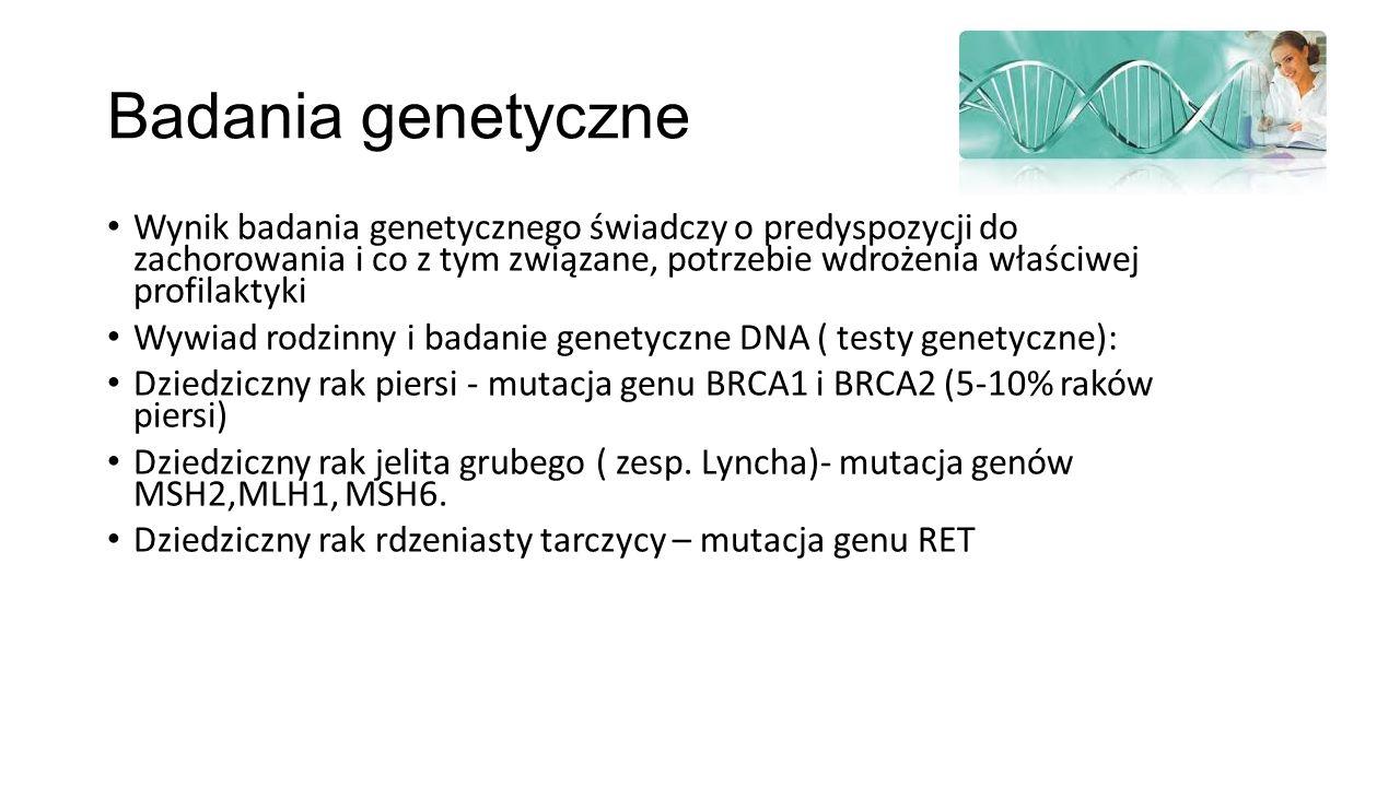 Badania genetyczne Wynik badania genetycznego świadczy o predyspozycji do zachorowania i co z tym związane, potrzebie wdrożenia właściwej profilaktyki Wywiad rodzinny i badanie genetyczne DNA ( testy genetyczne): Dziedziczny rak piersi - mutacja genu BRCA1 i BRCA2 (5-10% raków piersi) Dziedziczny rak jelita grubego ( zesp.