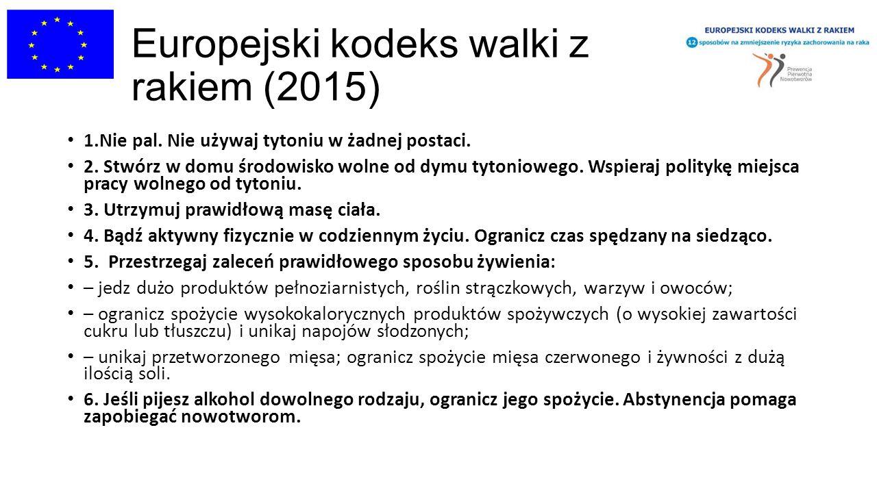 Europejski kodeks walki z rakiem (2015) 1.Nie pal. Nie używaj tytoniu w żadnej postaci. 2. Stwórz w domu środowisko wolne od dymu tytoniowego. Wspiera