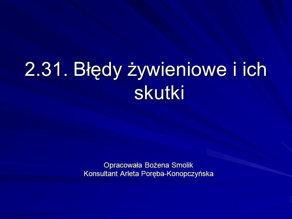2.31. Błędy żywieniowe i ich skutki Opracowała Bożena Smolik Konsultant Arleta Poręba-Konopczyńska