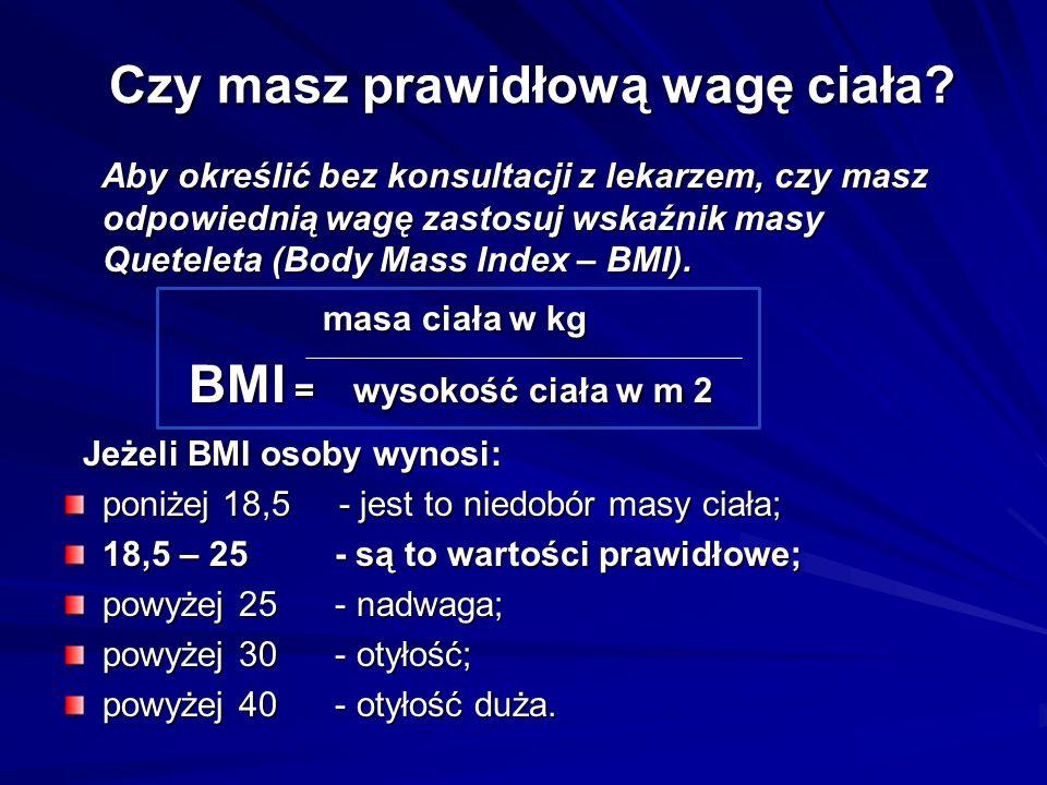 Czy masz prawidłową wagę ciała? Aby określić bez konsultacji z lekarzem, czy masz odpowiednią wagę zastosuj wskaźnik masy Queteleta (Body Mass Index –