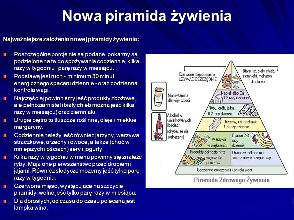 Nowa piramida żywienia Najważniejsze założenia nowej piramidy żywienia: Poszczególne porcje nie są podane, pokarmy są podzielone na te do spożywania c