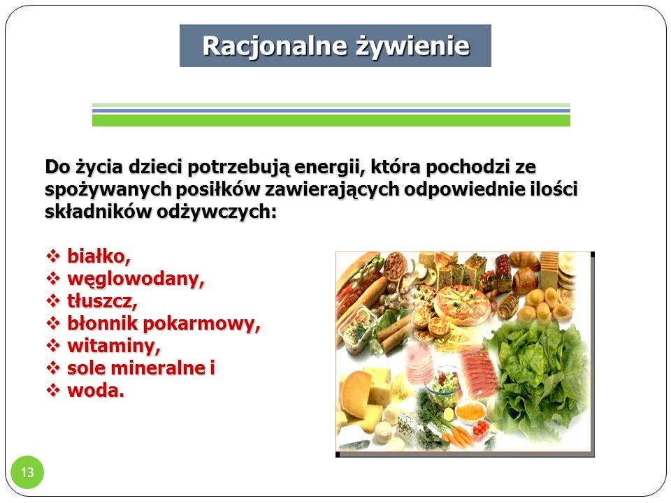 13 Do życia dzieci potrzebują energii, która pochodzi ze spożywanych posiłków zawierających odpowiednie ilości składników odżywczych:  białko,  węglowodany,  tłuszcz,  błonnik pokarmowy,  witaminy,  sole mineralne i  woda.