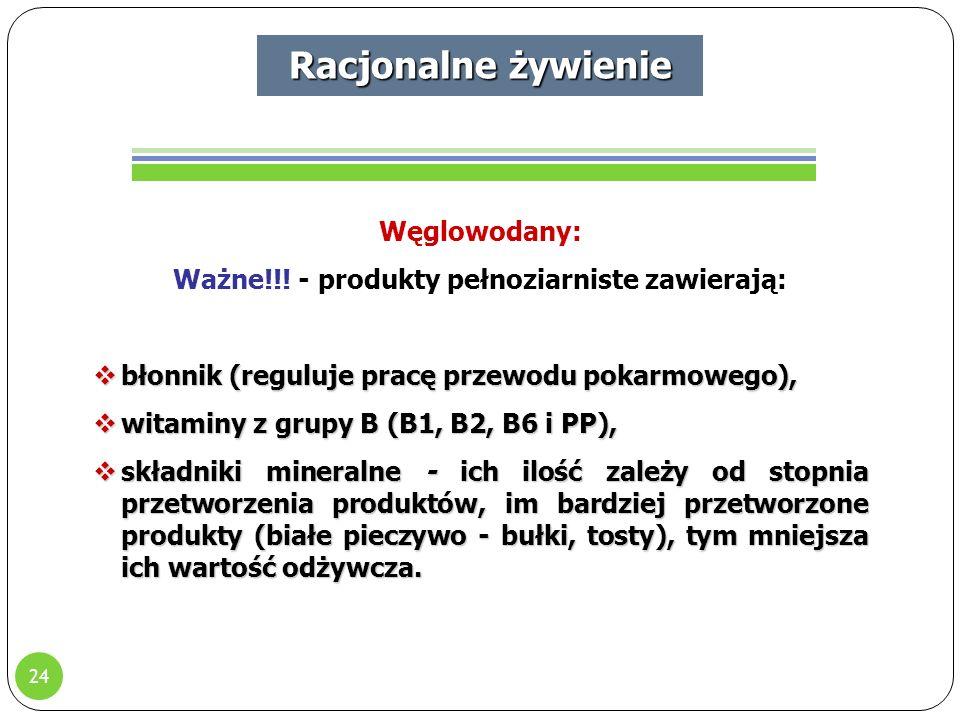 24 Racjonalne żywienie Węglowodany: Ważne!!.