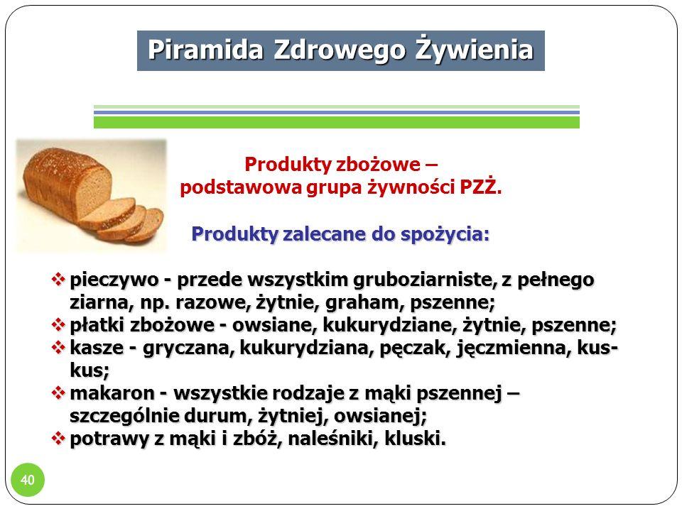 40 Piramida Zdrowego Żywienia Produkty zbożowe – podstawowa grupa żywności PZŻ.