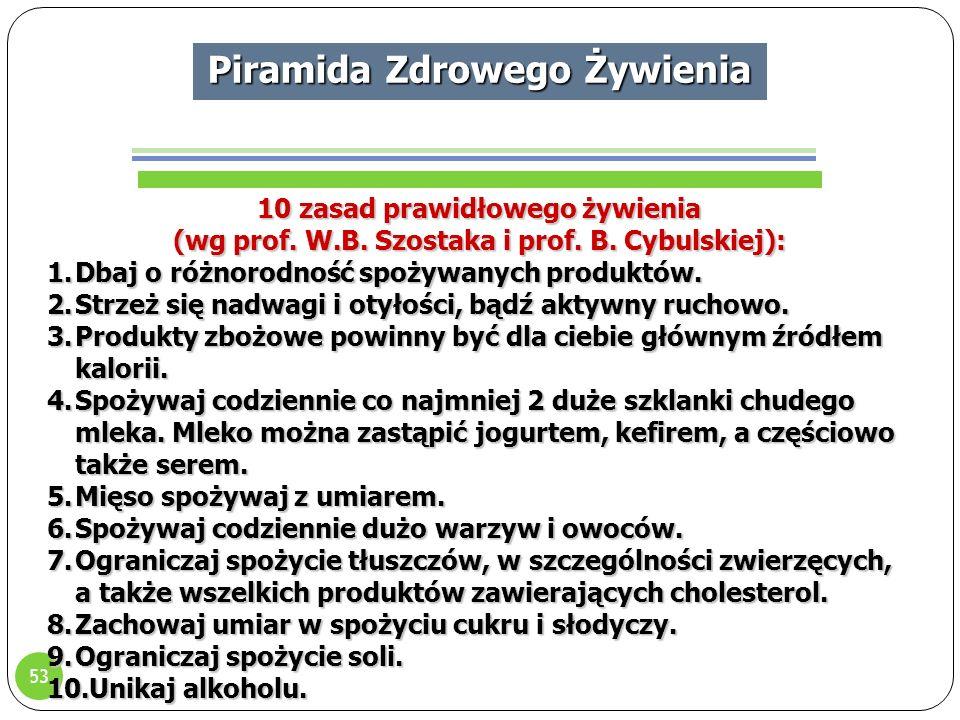 53 Piramida Zdrowego Żywienia 10 zasad prawidłowego żywienia (wg prof.