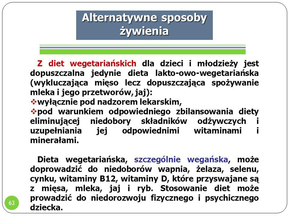 63 Alternatywne sposoby żywienia Z diet wegetariańskich dla dzieci i młodzieży jest dopuszczalna jedynie dieta lakto-owo-wegetariańska (wykluczająca mięso lecz dopuszczająca spożywanie mleka i jego przetworów, jaj):  wyłącznie pod nadzorem lekarskim,  pod warunkiem odpowiedniego zbilansowania diety eliminującej niedobory składników odżywczych i uzupełniania jej odpowiednimi witaminami i minerałami.