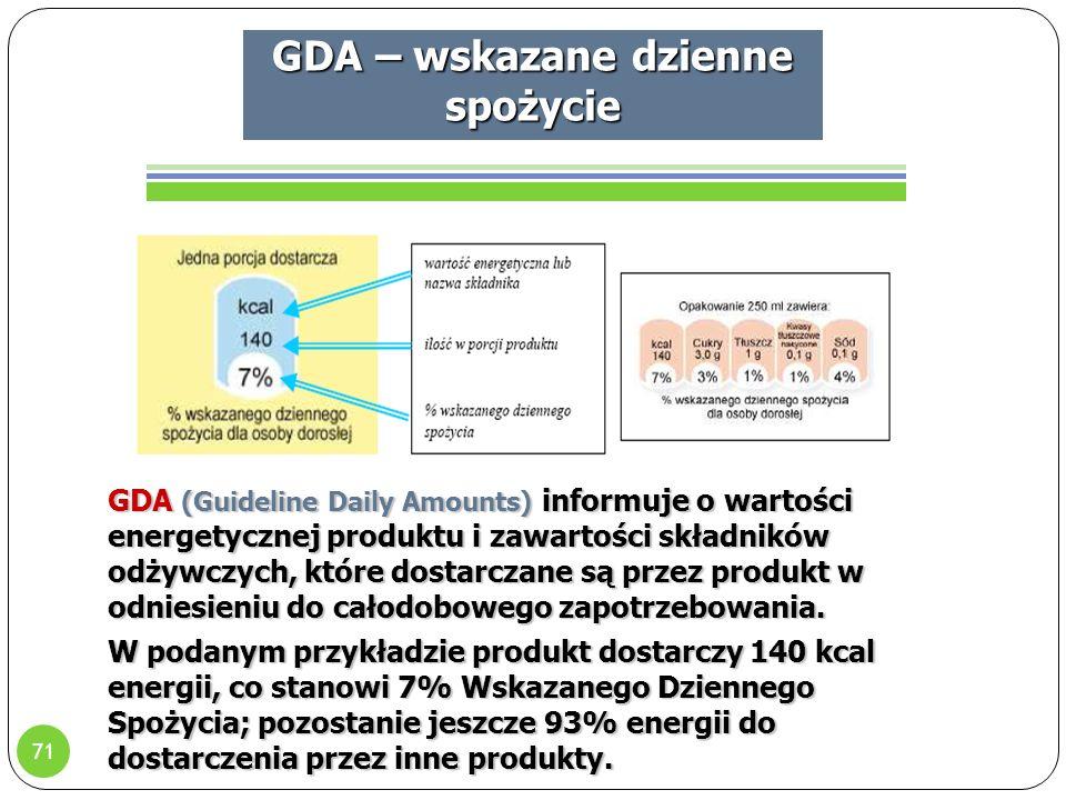 71 GDA – wskazane dzienne spożycie GDA (Guideline Daily Amounts) informuje o wartości energetycznej produktu i zawartości składników odżywczych, które dostarczane są przez produkt w odniesieniu do całodobowego zapotrzebowania.