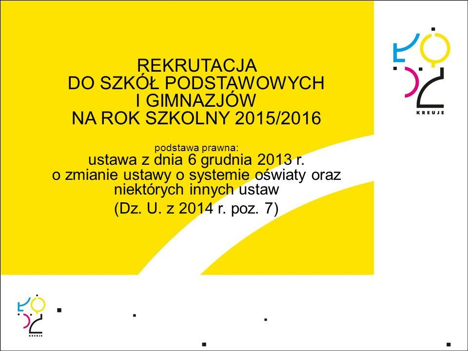 Zasady postępowania rekrutacyjnego w roku szkolnym 2015/2016 1.Do klasy pierwszej publicznej szkoły podstawowej i publicznego gimnazjum, którym ustalono obwód, dzieci i młodzież zamieszkałe w tym obrębie przyjmuje się z urzędu (zgłoszenie).