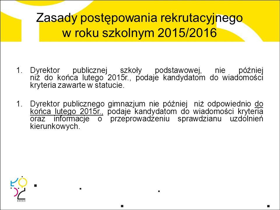 Zasady postępowania rekrutacyjnego w roku szkolnym 2015/2016 1.Dyrektor publicznej szkoły podstawowej, nie później niż do końca lutego 2015r., podaje kandydatom do wiadomości kryteria zawarte w statucie.