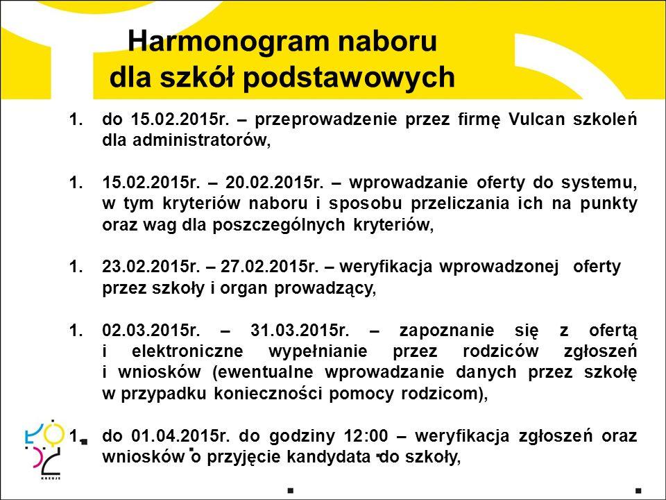 Harmonogram naboru dla szkół podstawowych 1.do 15.02.2015r.