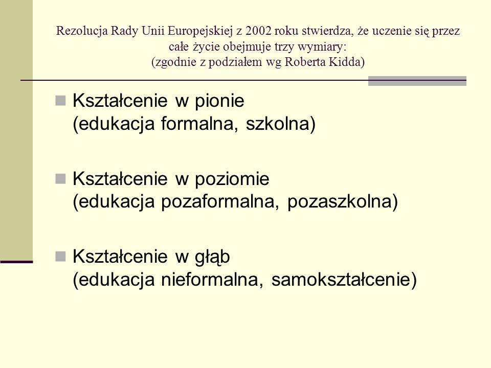 Rezolucja Rady Unii Europejskiej z 2002 roku stwierdza, że uczenie się przez całe życie obejmuje trzy wymiary: (zgodnie z podziałem wg Roberta Kidda) Kształcenie w pionie (edukacja formalna, szkolna) Kształcenie w poziomie (edukacja pozaformalna, pozaszkolna) Kształcenie w głąb (edukacja nieformalna, samokształcenie)
