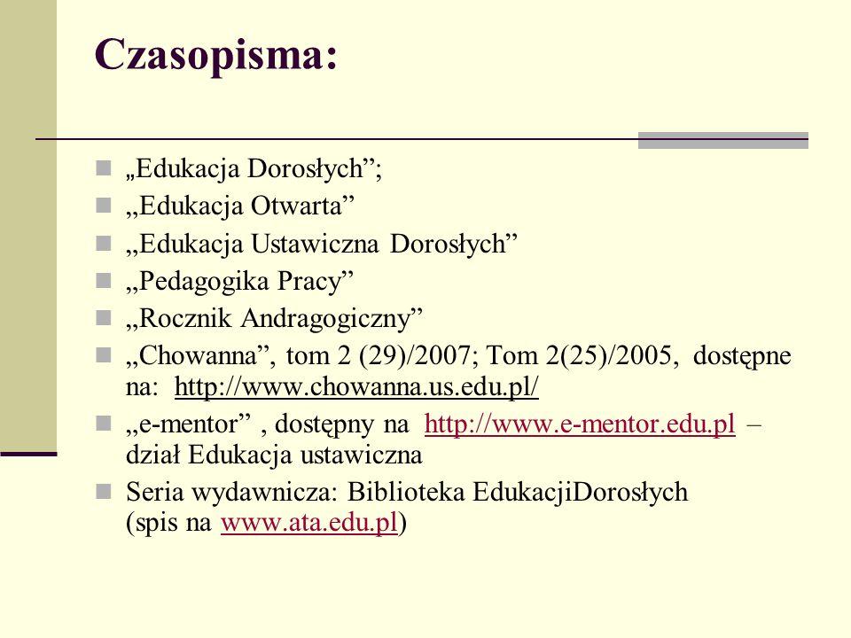 """Czasopisma: """" Edukacja Dorosłych ; """"Edukacja Otwarta """"Edukacja Ustawiczna Dorosłych """"Pedagogika Pracy """"Rocznik Andragogiczny """"Chowanna , tom 2 (29)/2007; Tom 2(25)/2005, dostępne na: http://www.chowanna.us.edu.pl/ """"e-mentor , dostępny na http://www.e-mentor.edu.pl – dział Edukacja ustawicznahttp://www.e-mentor.edu.pl Seria wydawnicza: Biblioteka EdukacjiDorosłych (spis na www.ata.edu.pl)www.ata.edu.pl"""