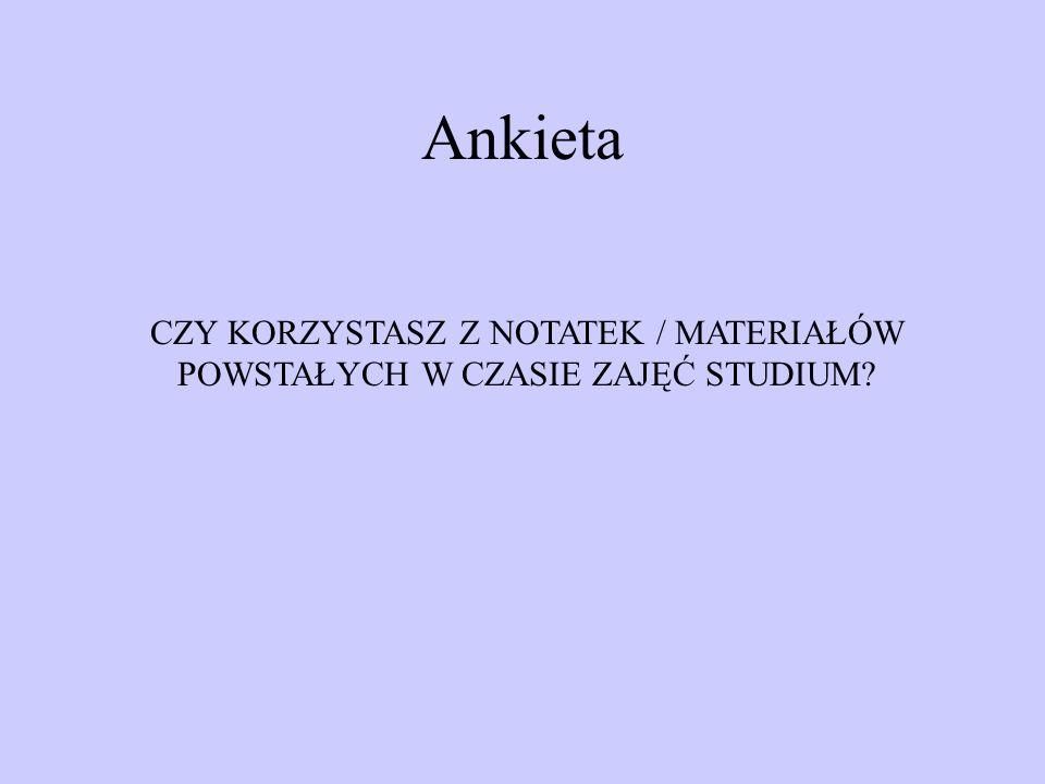 Ankieta CZY KORZYSTASZ Z NOTATEK / MATERIAŁÓW POWSTAŁYCH W CZASIE ZAJĘĆ STUDIUM