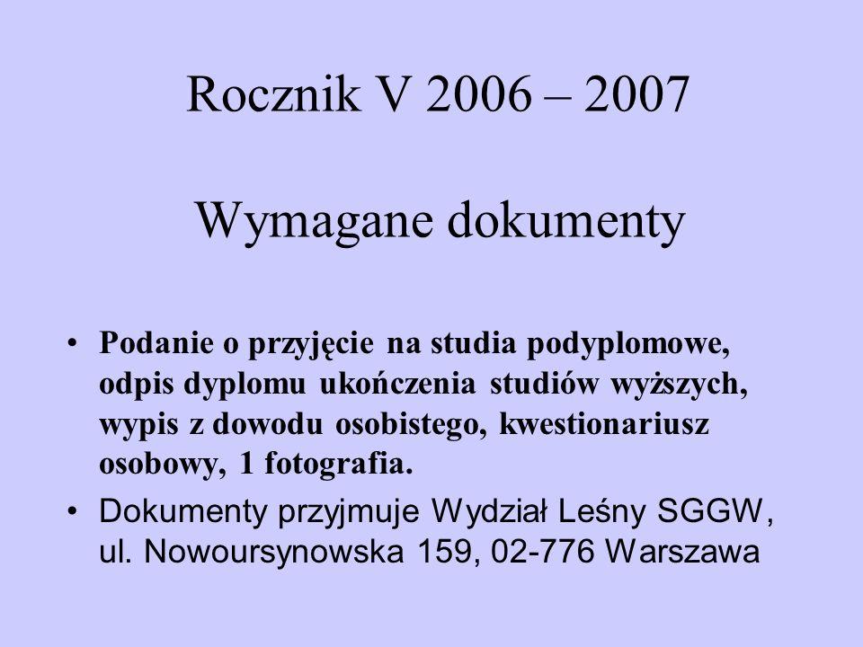 Rocznik V 2006 – 2007 Wymagane dokumenty Podanie o przyjęcie na studia podyplomowe, odpis dyplomu ukończenia studiów wyższych, wypis z dowodu osobistego, kwestionariusz osobowy, 1 fotografia.