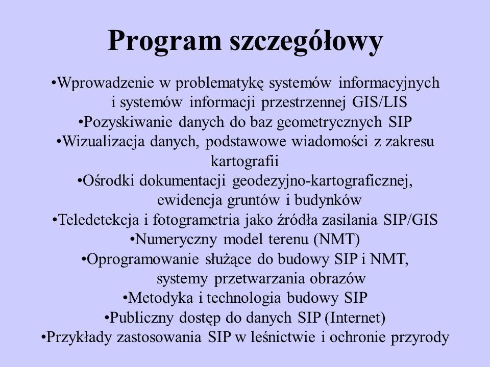 Wykaz przedmiotów (1/2) 1.Teledetekcyjne źródła danych dla SIP 2.