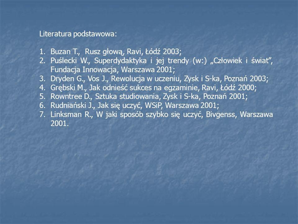 """Literatura podstawowa: 1.Buzan T., Rusz głową, Ravi, Łódź 2003; 2.Puślecki W., Superdydaktyka i jej trendy (w:) """"Człowiek i świat , Fundacja Innowacja, Warszawa 2001; 3.Dryden G., Vos J., Rewolucja w uczeniu, Zysk i S-ka, Poznań 2003; 4.Grębski M., Jak odnieść sukces na egzaminie, Ravi, Łódź 2000; 5.Rowntree D., Sztuka studiowania, Zysk i S-ka, Poznań 2001; 6.Rudniański J., Jak się uczyć, WSiP, Warszawa 2001; 7.Linksman R., W jaki sposób szybko się uczyć, Bivgenss, Warszawa 2001."""