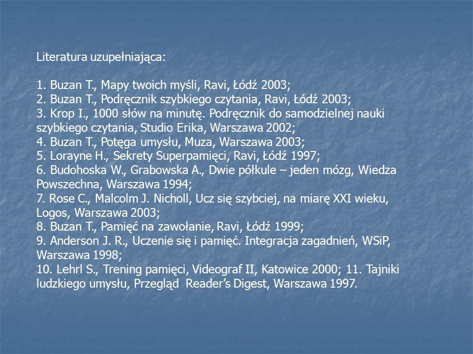 Literatura uzupełniająca: 1.Buzan T., Mapy twoich myśli, Ravi, Łódź 2003; 2.