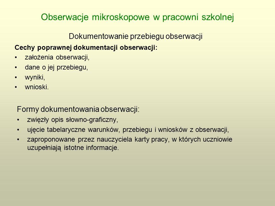 Obserwacje mikroskopowe w pracowni szkolnej Dokumentowanie przebiegu obserwacji Cechy poprawnej dokumentacji obserwacji: założenia obserwacji, dane o jej przebiegu, wyniki, wnioski.