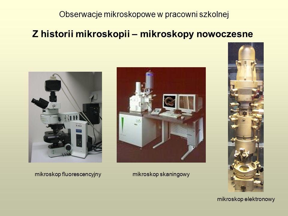 Obserwacje mikroskopowe w pracowni szkolnej Z historii mikroskopii – mikroskopy nowoczesne mikroskop fluorescencyjny mikroskop elektronowy mikroskop skaningowy