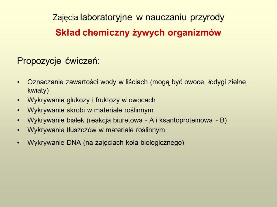 Zajęcia laboratoryjne w nauczaniu przyrody Propozycje ćwiczeń: Oznaczanie zawartości wody w liściach (mogą być owoce, łodygi zielne, kwiaty) Wykrywanie glukozy i fruktozy w owocach Wykrywanie skrobi w materiale roślinnym Wykrywanie białek (reakcja biuretowa - A i ksantoproteinowa - B) Wykrywanie tłuszczów w materiale roślinnym Wykrywanie DNA (na zajęciach koła biologicznego) Skład chemiczny żywych organizmów