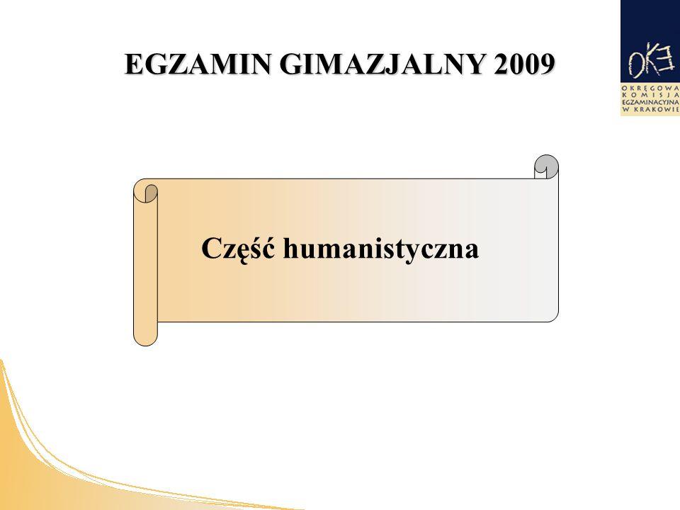 EGZAMIN GIMAZJALNY 2009 Część humanistyczna