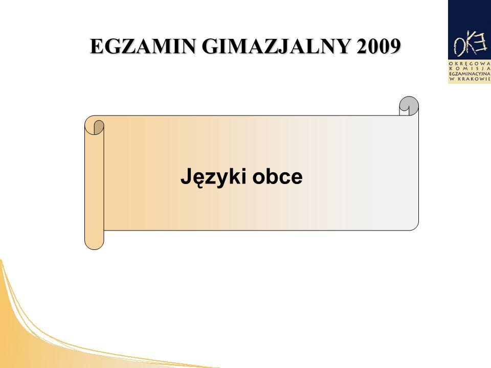 EGZAMIN GIMAZJALNY 2009 Języki obce