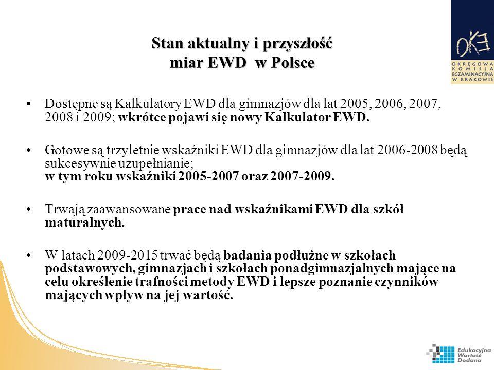 Stan aktualny i przyszłość miar EWD w Polsce Dostępne są Kalkulatory EWD dla gimnazjów dla lat 2005, 2006, 2007, 2008 i 2009; wkrótce pojawi się nowy Kalkulator EWD.