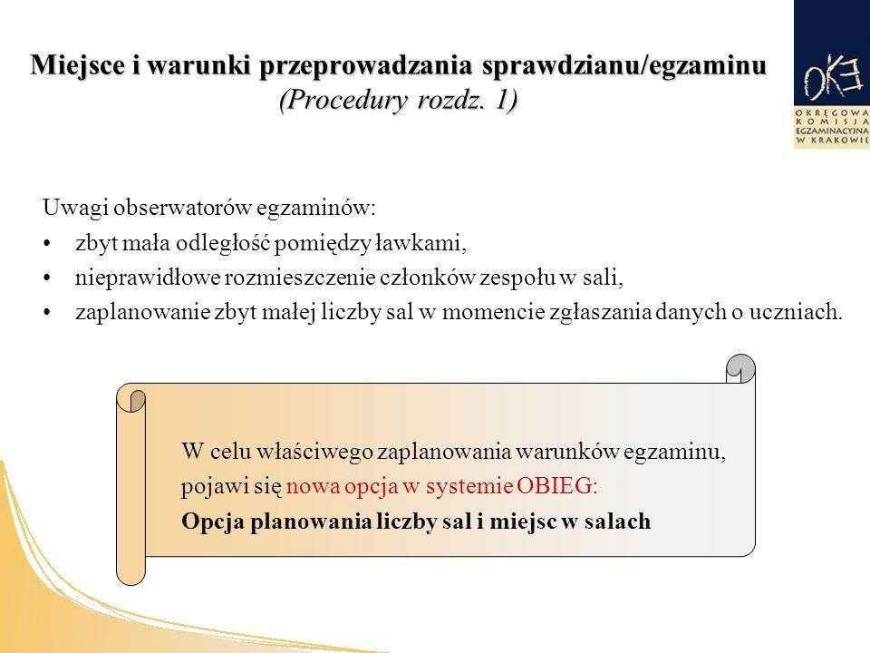 Miejsce i warunki przeprowadzania sprawdzianu/egzaminu (Procedury rozdz.