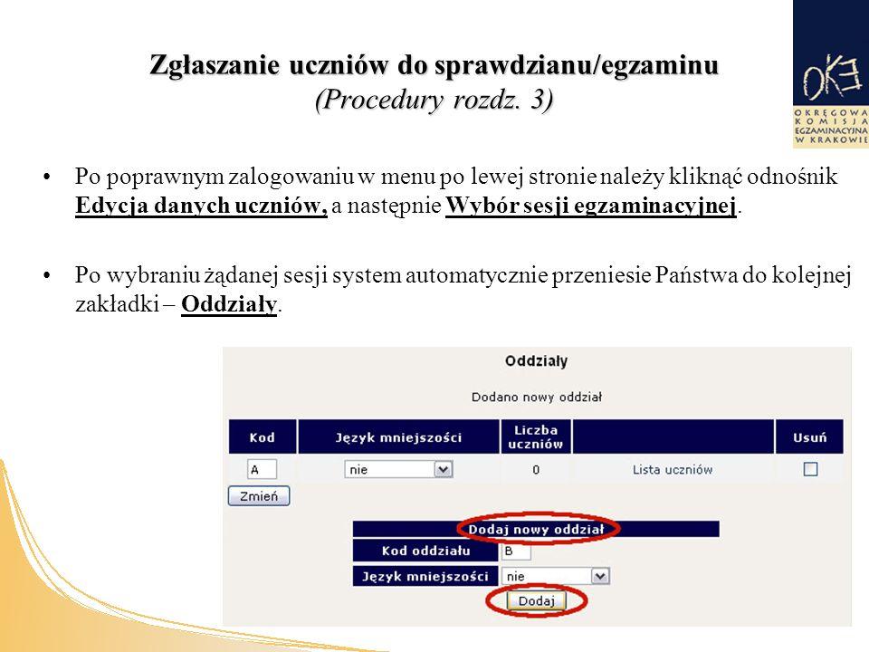 Zgłaszanie uczniów do sprawdzianu/egzaminu (Procedury rozdz.