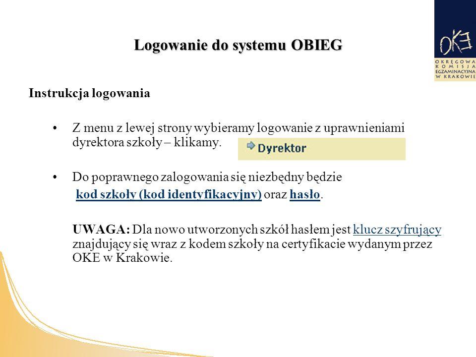 Logowanie do systemu OBIEG Instrukcja logowania Z menu z lewej strony wybieramy logowanie z uprawnieniami dyrektora szkoły – klikamy.