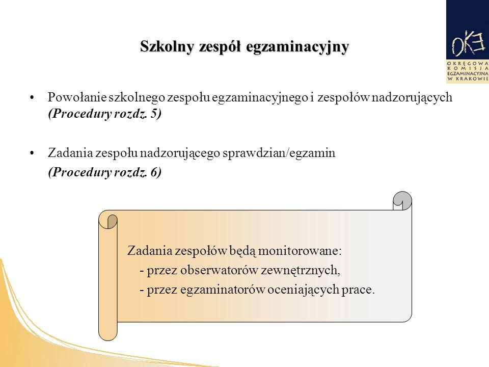 Szkolny zespół egzaminacyjny Powołanie szkolnego zespołu egzaminacyjnego i zespołów nadzorujących (Procedury rozdz.