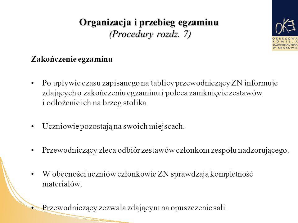 Organizacja i przebieg egzaminu (Procedury rozdz.