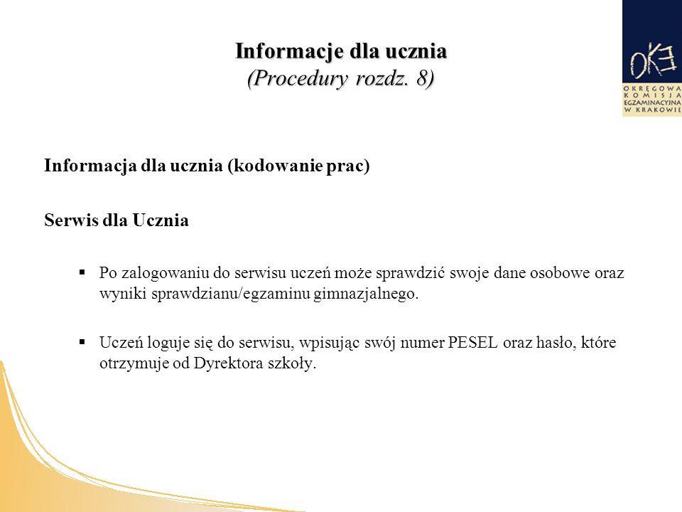 Informacje dla ucznia (Procedury rozdz.