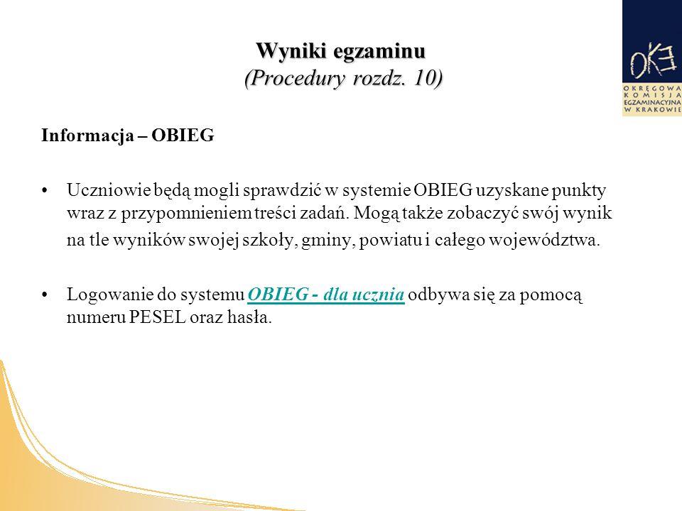 Wyniki egzaminu (Procedury rozdz.