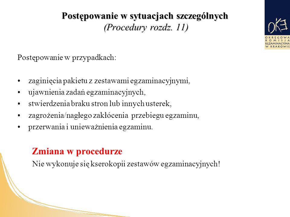 Postępowanie w sytuacjach szczególnych (Procedury rozdz.