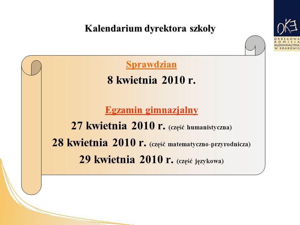 Kalendarium dyrektora szkoły Sprawdzian 8 kwietnia 2010 r.