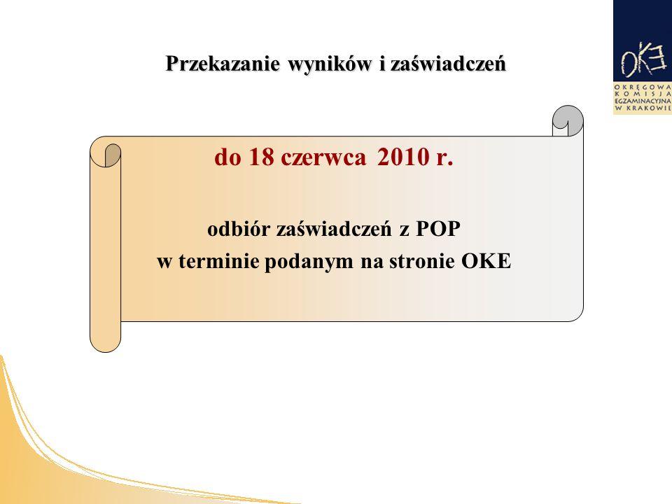 Przekazanie wyników i zaświadczeń do 18 czerwca 2010 r.