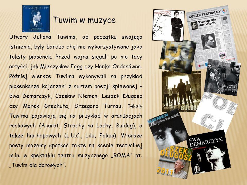 Tuwim w muzyce Utwory Juliana Tuwima, od początku swojego istnienia, były bardzo chętnie wykorzystywane jako teksty piosenek.
