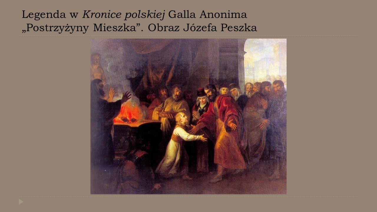 """Legenda w Kronice polskiej Galla Anonima """"Postrzyżyny Mieszka"""". Obraz Józefa Peszka"""
