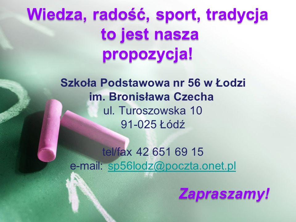 Szkoła Podstawowa nr 56 w Łodzi im. Bronisława Czecha ul.