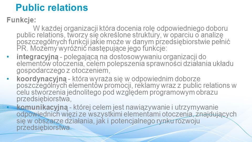 Public relations Funkcje: W każdej organizacji która docenia rolę odpowiedniego doboru public relations, tworzy się określone struktury, w oparciu o analizę poszczególnych funkcji jakie może w danym przedsiębiorstwie pełnić PR.